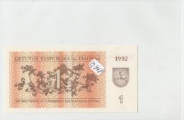 Billets - B941 -  Lituanie     - Billet  1  1992    - Etat Neuf  ( Type, Nature, Valeur, état... Voir 2 Scans) - Lituanie