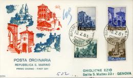 1961 VEDUTE FDC SAN MARINO RODIA - FDC