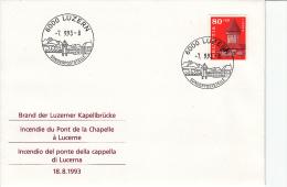 Zwitserland, FDC 7.9.1993, Brand Der Luzerner Kapellbrucke (5325) - Sapeurs-Pompiers