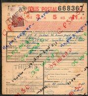 Colis Postaux Bulletin Exp 5kg 11.4F Timbre2f40 Cachet Gare S.N.C.F. THIERS PLM N°668367 Et N°837531 - Paketmarken