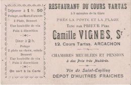 CARTE DE VISUTE ANCIENNE RESTAURANT DU COURS TARTAS  CAMILLE VIGNES PROPRIETAURE 12 COURS TARTAS ARCACHON (GIRONDE) - Visiting Cards