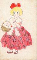 [DC8916] CARTOLINA ILLUSTRATA - BAMBINA CON CESTINO VIMINI CON UOVA - Old Postcard - Disegni Infantili