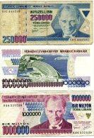 Lot De 3 Billets De Turquie - Türkei