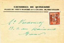 941/20 - Bande D´ Imprimé TP PREO Mercure 5 C BRUXELLES 1935 Vers GAND - Typo Precancels 1932-36 (Ceres And Mercurius)