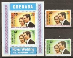 FAMILIAS REALES - GRANADINAS 1974 - Yvert #1/2+H1 - MNH ** - Familias Reales