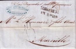 ITALIE - MESSINA 12-4-1854 - MANUSCRIT PAR PAQUEBOT FRANCAIS + TAXE FORME MANUSCRITE TAMPON 13+CACHET ENTREE D.SICILES-A - Sin Clasificación