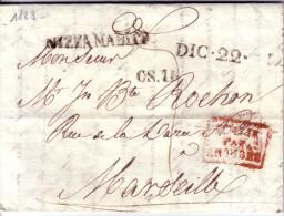 ITALIE -NIZZA MARITA LE 22-12-1823 - CACHET ITALIE PAR ANTIBES + TAXE MANUSCRITE 7 + CS.1R + DIC.22. - Italie