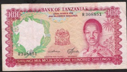 TANZANIA P5b 100  SHILLINGS  1966 F-VF  Folds But NO P.h. ! ! - Tanzanie