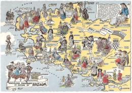 Dépt 29 - Carte Fantaisie - (CPSM 10.4x14.9 Cm) - Géographie Folklorique Du Costume En Bretagne - France