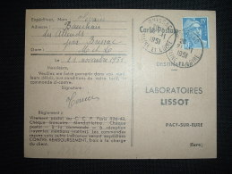 CP TP MARIANNE DE GANDON 15F OBL. 21-11-1951 BRISSAC (49 MAINE ET LOIRE) - Marcophilie (Lettres)