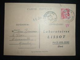 CP TP MARIANNE DE GANDON 15F OBL. 13-7-1951 CHERBOURG (50 MANCHE) - Marcophilie (Lettres)