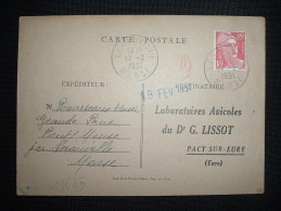 CP TP MARIANNE DE GANDON 15F OBL. 17-2-1951 LEROUVILLE (55 MEUSE) - Marcophilie (Lettres)