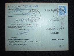 CP TP MARIANNE DE GANDON 15F OBL. 17-5-1954 FOURS (58 NIEVRE) - Marcophilie (Lettres)