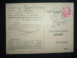 CP TP MARIANNE DE GANDON 15F OBL. 19-2-1951 AUBE (61 ORNE) - Marcophilie (Lettres)