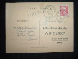 CP TP MARIANNE DE GANDON 15F OBL. 16-2-1950 LA FERTE-FRESNEL (61 ORNE) - Marcophilie (Lettres)