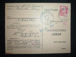 CP TP MARIANNE DE GANDON 15F OBL. 10-8-1951 TICHEVILLE (61 ORNE) - Marcophilie (Lettres)