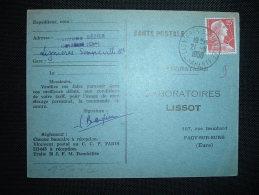 CP TP MARIANNE DE MULLER 25F OBL. 21-8-1959 LIGNIERES-SONNEVILLE (16 CHARENTE) - Marcophilie (Lettres)