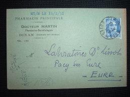 CP TP MARIANNE DE GANDON 12F OBL. 15-2-1951 DINAN (22 COTES DU NORD) + PHARMACIE PRINCIPAL DOCTEUR MARTIN - Marcophilie (Lettres)