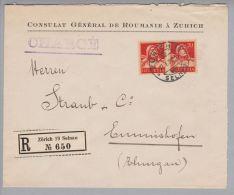 Motiv Politik Consulat 1926-01-27 Zürich 19 Consulat Général De Roumanie à Zurich R-Brief Nach Emmishofen - Timbres