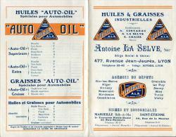 """HUILES & GRAISSES INDUSTRIELLES """" AUTO-OIL """" """" SELVOLINE """" ANTOINE LA SELVE 477 AVENUE JEAN JAURES.LYON.TARIF. - Auto's"""