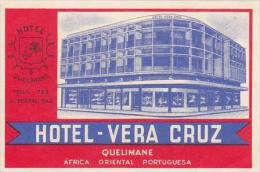 MOZAMBIQUE QUELIMANE HOTEL VERA CRUZ VINTAGE HOTEL LABEL - Hotel Labels
