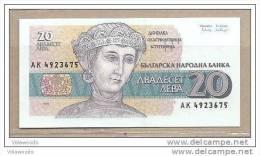 Bulgaria - Banconota Non Circolata Da 20 Lev P-100 - 1991 - Bulgarije