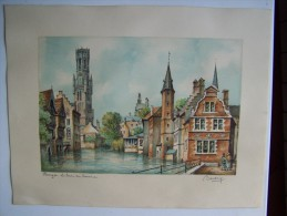 Signé BARDAY BRUGES LE QUAI DU ROSAIRE Lithographie 23cmx17cm Sur Papier - Belgique - Aquarelles