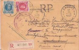 BELGIQUE :1927:N°202+208 Sur C.p.Rec.Franch.de Port.Carte Pliée.Plusieurs Cachets. - Documenti Della Posta