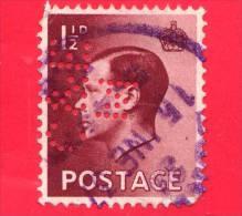 GB  UK GRAN BRETAGNA - 1936 - Re Edward VIII - 1 1/2 Perforato - Usati