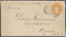 O) 1907 MEXICO, POSTAL STATIONARY EAGLE EMBOSSED, NO 2 COATZACOALCOS Y S.J.E. , TO; DIENER HERMANOS,  EMBOSSED - Mexico