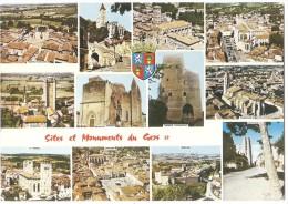 Dépt 32 - GERS - CPSM Multi-vues : Valence-sur-Baïse, Lombez, Condom, Bassoues, Simorre, Fleurance, La Romieu, Terraube - Non Classés