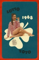 """Petit Calendrier Publicitaire 1968 - """"Lotto Toto"""" Loto Loterie Erotique Sexy Trèfle - PUB Publicité (Hongrie) - Calendriers"""