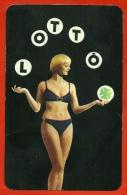 """Petit Calendrier Publicitaire 1975 - """"Lotto Toto"""" Loto Loterie Erotique Sexy Pin-Up Trèfle - PUB Publicité (Hongrie) - Calendarios"""