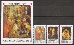 PINTURA/RUBENS - GRENADINES 1989 - Yvert #1076/78+H184 - MNH ** - Rubens