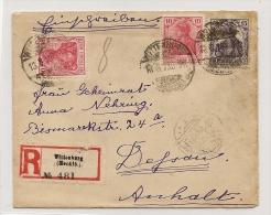 DR Brief MIf. Germania Einschreiben Wittenburg Mecklenburg 1919 N. Dessau Anhalt (3135) - Deutschland