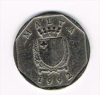 - MALTA  50 CENTS 1992 - Malte