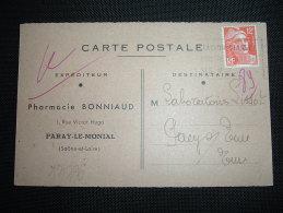 CP TP MARIANNE DE GANDON 12F OBL.MEC. DATEE 18-11-1953 PARAY LE MONIAL (71 SAONE ET LOIRE) + PHARMACIE BONNIAUD - Marcophilie (Lettres)