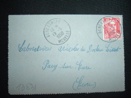 CL TP MARIANNE DE GANDON 15F OBL. 19-5-1950 BENESTROFF (57 MOSELLE) - Marcophilie (Lettres)