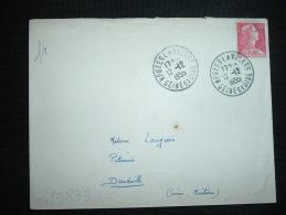 LETTRE TP MARIANNE DE MULLER 15F OBL. 12-12-1955 NESLES LA VALLEE SEINE ET OISE - Marcophilie (Lettres)