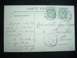 CP TP BLANC 5C X2 OBL. PARIS 45 + OBL. TIRETEE ARRIVEE 28-7-08 VOUZAILLES (86 VIENNE) - Marcophilie (Lettres)