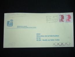 LETTRE LIBERTE DE GANDON 2,20F + 0,10F OBL.MEC.20-1-1990 VIC LE COMTE (63)+ GRIFFE XXXXX De ATHIS MONS PPAL (91 ESSONNE) - Marcophilie (Lettres)