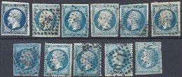 Lot De 11 Bleus - 1853-1860 Napoléon III