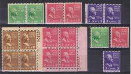 ED - 33 - ETATS UNIS N° 369-370-371-372 Neufs** Beau Lot De Variétés De Dentelure + Blocs De 4 Bord De Feuille Numéroté - Unused Stamps