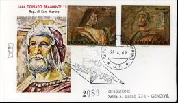 1969 PITTORI BRAMANTE FDC SAN MARINO RODIA - FDC