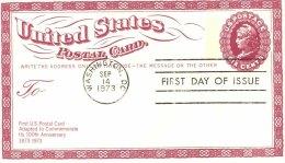 USA Unaddressed 6c Postal Card For Centenary Of 1st US Postal Card Postmarked Washington DC 14 Sep 1973 - Postal Stationery