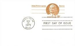 USA Unaddressed FDC 9c John Witherspoon Postal Stationery Card Postmarked Princeton NJ Nov 10 1975 - Postal Stationery