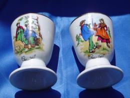 """Duo De Mazagrans """"Creusois"""" En Véritable Porcelaine TOUPET Décoratrice - Popular Art"""