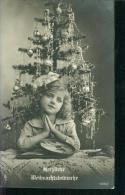 CPA LOVELY PORTRAIT Petite Fille Ange De Noel Sapin . Little Girl Angel,engel Tres Bon état Merry Christmas 23.12.1918 - Noël