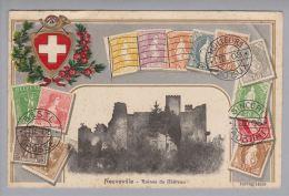 BE Neuveville 1912-01-31 Prägelitho Mit Foto Ruine #10578g/14553 - BE Berne