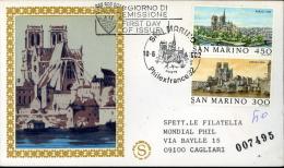 1982 PARIGI 1806-1982 FDC SAN MARINO FILAGRANO GOLD - FDC
